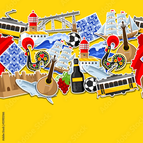 Foto  Portugal seamless pattern with stickers