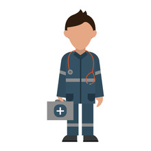 Male Paramedic Icon Image Vect...