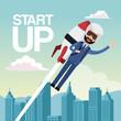 city landscape background star up business man flying in rocket vector illustration