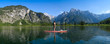 canvas print picture - Stand up paddling am Almsee