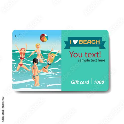 Women in a bikini play volleyball in the sea. Sale discount gift