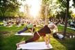 Leinwandbild Motiv big group of adults attending a yoga class outside in park