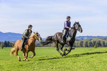 Reiterinnen im dynamischen Galopp