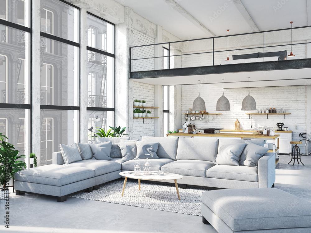 Fototapety, obrazy: modern loft apartment. 3d rendering