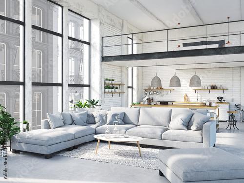 Obraz modern loft apartment. 3d rendering - fototapety do salonu