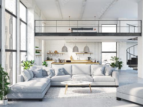 Photo  modern loft apartment. 3d rendering