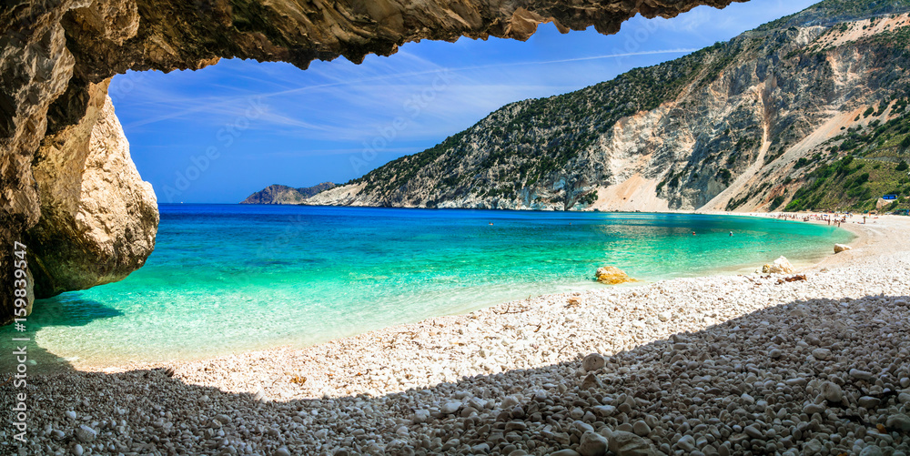 Fototapety, obrazy: Famous Myrtos beach in Cefalonia island, view from the cave. Greece