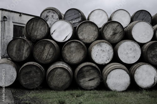 wooden barrels at the distiiery