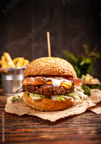 Delicious hamburger with cheese