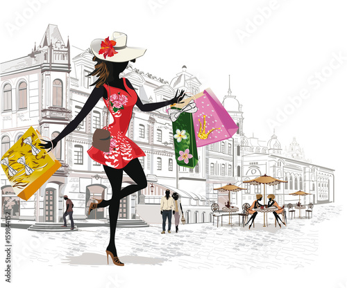 Obrazy na płótnie Canvas Fashion girl shopping in the old city. Series of architectural backgrounds.