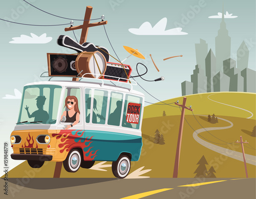 Rock 'n' roll band on tour in retro van Wall mural
