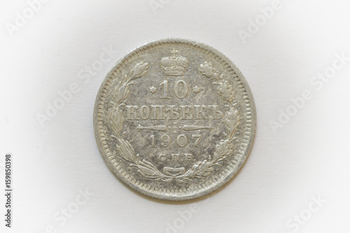 Fotografie, Obraz 10 kopecks 1907   Obverse silver coin of Russia isolated on white background