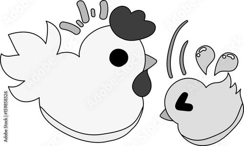 Fotografija  My original illustration of cute domestic fowl and chick