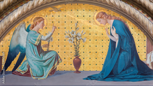 TURIN, ITALY - MARCH 15, 2017: The fresco of Annunciation in church Chiesa di San Dalmazzo by Luigi Guglielmino (1916) Canvas Print