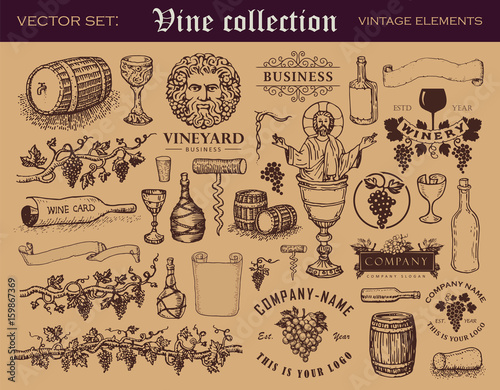 Various retro style vector elements for wine industry Wallpaper Mural