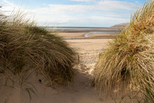 View Of Sea Through Sand Dunes...