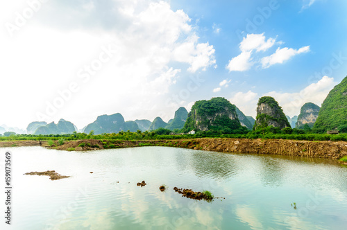View on karst landscape by Li river in Yangshuo