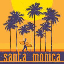 California Coast, Santa Monica Beach, Surfer Poster