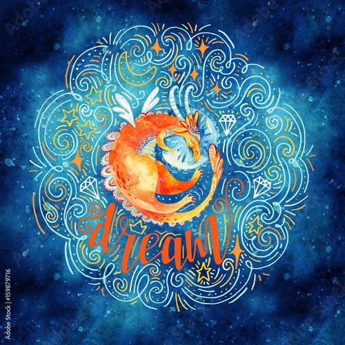 pomaranczowy-smok-spiacy-smacznie-na-poduszce-malowany-akwarela-na-ciemnym-tle