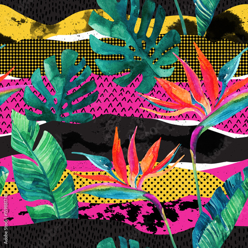 Photo sur Toile Empreintes Graphiques Abstract tropical summer design seamless pattern.