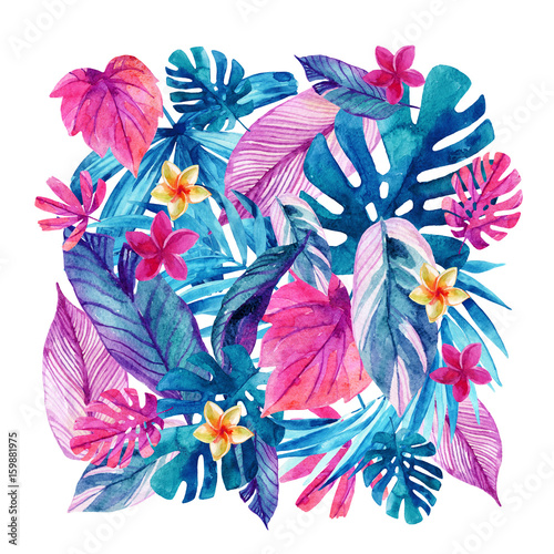 Watercolor exotic leaves and flowers background.