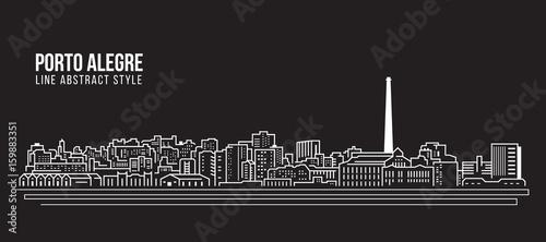 Photo Cityscape Building Line art Vector Illustration design - Porto alegre city