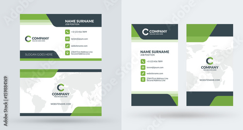 Double sided creative business card template portrait and landscape double sided creative business card template portrait and landscape orientation horizontal and vertical flashek Image collections