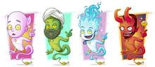 Cartoon Magic Jinns With Lamp Character Vector Set