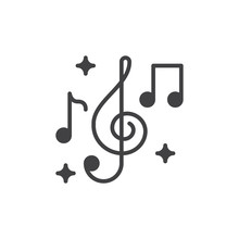 Treble Clef And Music Notes Icon Vector, Filled Flat Sign, Solid Pictogram Isolated On White. Music Symbol, Logo Illustration. Pixel Perfect