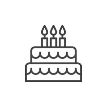 Birthday Cake Line Icon, Outline Vector Sign, Linear Style Pictogram Isolated On White. Symbol, Logo Illustration. Editable Stroke. Pixel Perfect