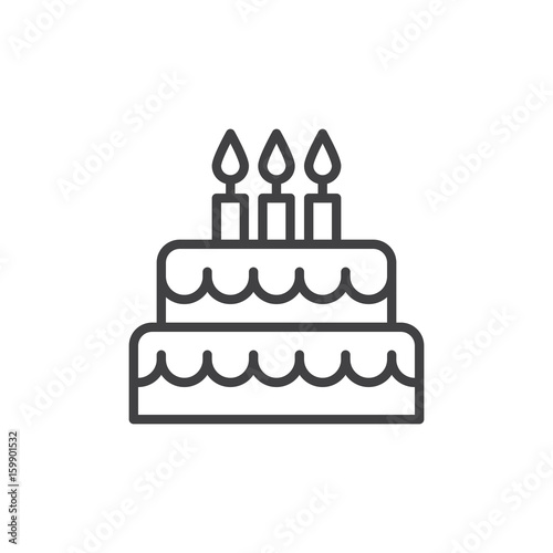Canvas Birthday cake line icon, outline vector sign, linear style pictogram isolated on white