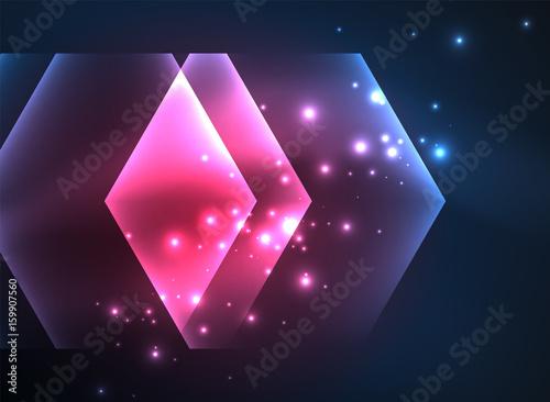 Fototapeta Techno glowing glass hexagons vector background obraz na płótnie