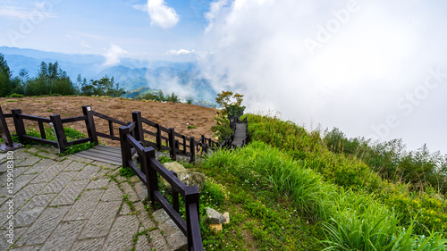 Keuken foto achterwand Stairs going down from the topview on the mountain in Taiwan, Eryanping trail.