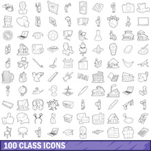 100 Class Icons Set, Outline Style