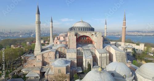 Fotografiet Aerial View of Hagia Sophia in Istanbul
