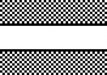 White Label On Monochrome Checkered Pattern Design For Sport Race Championship Background Vector Illustration.