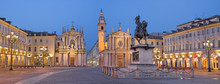 TURIN, ITALY - MARCH 13, 2017: The Piazza San Carlo Square At Dusk.