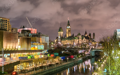 Canadian Parliament Building and Rideau Canal in Ottawa
