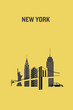 Minimalist illustration of New York city representing iconic buildings. Flat design.