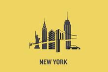 New York City Art Design Concept. Minimalist Flat Vector Illustration.