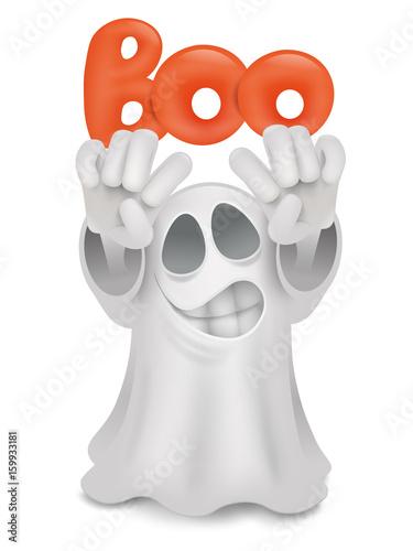 Fényképezés  Cartoon ghost emoji character with boo title