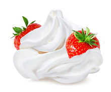 Strawberry With Cream   Isolated On White