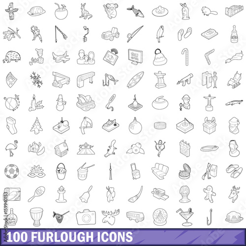 Valokuva  100 furlough icons set, outline style