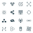 Learning Icons Set. Collection Of Information Base, Wireless Communications, Variable Architecture And Other Elements. Also Includes Symbols Such As Fan, Variable, Cogwheels.