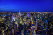 Manhattan skyline from above at dusk, New York City