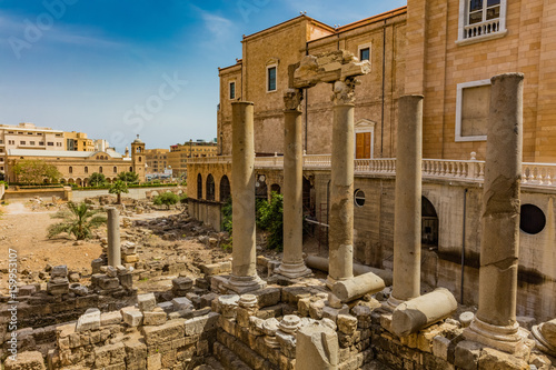 Canvas Roman Cardo Maximus ruins in Beirut capital city of Lebanon Middle east