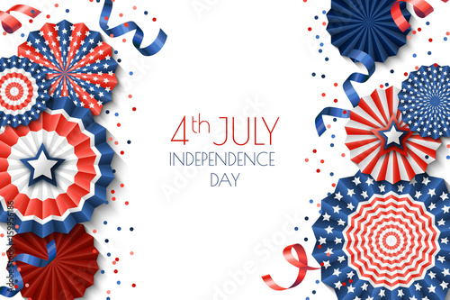 Fotografía  4th of July, USA Independence Day vector banner template