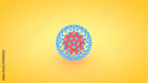 Fotografija  Isometric sphere atom array illustration, 3D rendering