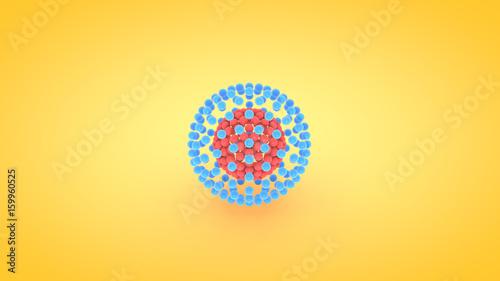 Fotografia, Obraz  Isometric sphere atom array illustration, 3D rendering