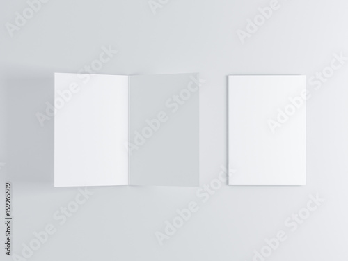 Opened and closed blank greeting card mockup top view on leaflet or opened and closed blank greeting card mockup top view on leaflet or invitation 3d m4hsunfo